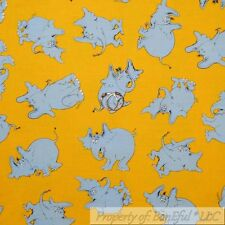 BonEful Fabric FQ Cotton Quilt Yellow Gray Elephant Dr Seuss Horton Hears A Who