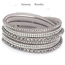 Grey Swarovski Elements Skinny Wrap Slake Bracelet by Harmony Bracelets