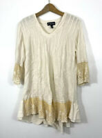 Gretty Zueger Tunic Size Small Cream Off White Floral Embroidered Lace Tan