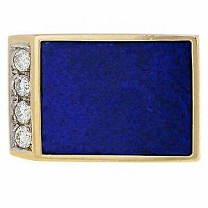 Men's 14k Yellow Gold 0.20ctw Diamond & Blue Lapis Lazuli Ring Size 7.5