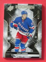 2019-20 Upper Deck SPx Rookies, Kaapo Kakko # 67, New York Rangers, 100/199 MINT