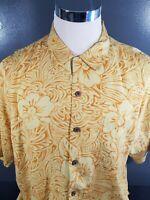 Tommy Bahama Hawaiian Floral Short Sleeve Button Up Shirt Large - 100%Silk