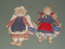 """2 Vintage Americana 10"""" Fabric Rag Dolls Red Tan Navy White Dresses with Wings"""