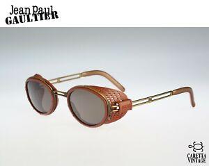 Jean Paul Gaultier 56-6201, Vintage sunglasses, 90s oval sunglasses, side shield