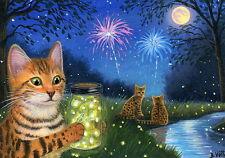 Bengal cat kitten fireflies jar moon fireworks stream Oe aceo print art