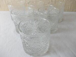 Vintage Ravenhead Siesta 6 x tumblers drinking glasses 1970's bark effect