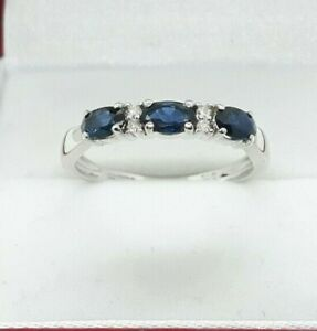 9ct White Gold 0.65ct Natural Sapphire and Diamond Ring