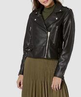 $260 Blank NYC Women's Black Vegan Leather It Takes Two Moto Coat Jacket Size XS