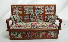 Dollhouse Miniature Artisan Antique Austrian Petit Point Settle / Monks Bench B