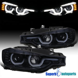 For 2012-2015 BMW F30 3-Series Glossy Black LED U-Rings Projector Headlights