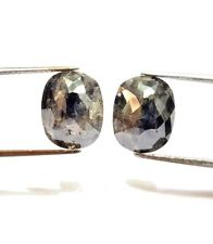 Big Natural Diamond Pair 8.44TCW Gray Oval Rose cut 13.1 x 10.3 x 3.8 MM Gift