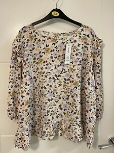George Bnwt Cream Floral Ditzy Blouse Size 16