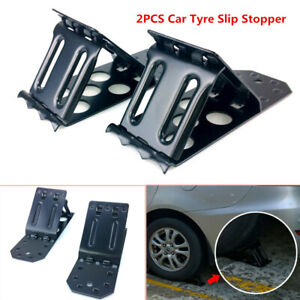 2X Tyre Slip Stopper Iron Plate Car Wheel Tire Chock Stop Block Slope Anti-slip