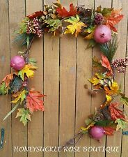 5' Fall Garland Red Pomgranate Artichokes Orange and Green Leaves Wreath Mantle