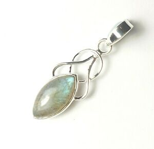 LABRADORITE GEMSTONE STAMPED 925 STERLING SILVER PENDANT WITH BLUE FIRE 2 g