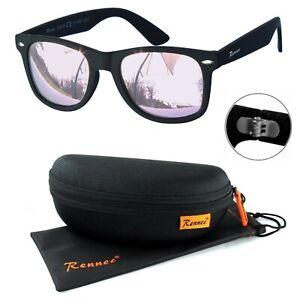 Rennec Sonnenbrille Nerd Retro Schwarz Matt Rosa Verspiegelt 12X Brillenbox