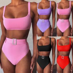 2020 Sexy Women High Waist Bikini Set Swimwear Push up Padded Swimsuit Beachwear