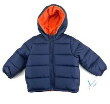 CARTERS Puffer Hoodie Jacket Toddlers Boys Size 3T Navy Blue Fleece Sherpa Lined