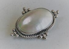 """Bali Styled 1 3/4"""" Sterling Silver Domed MOP Shell Oval Brooch Pin"""