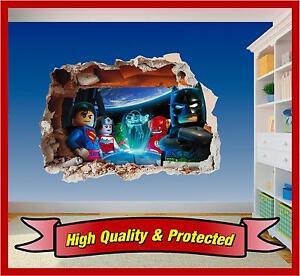 Lego Superhero Hole in Wall - Batman Superman 3D Art Printed Vinyl Sticker Decal