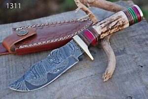 Custom HAND FORGED DAMASCUS STEEL SKINNER HUNTING KNIFE W/ STAG Antler Handle