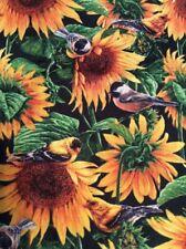 Sunflowers And Chickadee Window Valance Cotton Handcrafted FREE SHIPPING