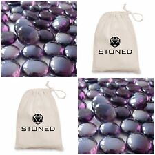 50 Purple Glass Round Decorative Pebbles - Stones - Beads - Nuggets