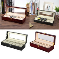 6 Grids Wrist Watch Display Case Wood/Leather Lacquered Box Storage Holder