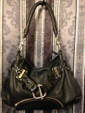 VIA SPIGA Black Cow Leather Handbag Purse Shoulder Bag Satchel Hobo Tote