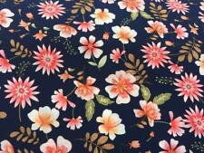 MASSIVE REMNANT Navy Blue Polyester Floral Dress Fabric - Approx 150cm x 1.2M