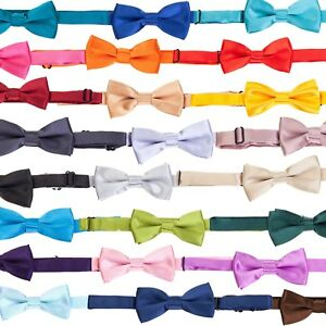 Tie Co Kids / Children's Small Pre Tied Bow Tie - Range of Plain Colours + Black