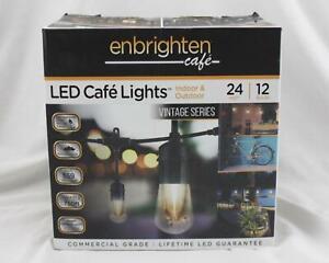 Enbrighten LED Cafe Lights Indoor Outdoor 24ft Bulb String Lights NEW A083