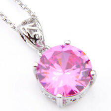 Round Style Genuine Pink Kunzite Gemstone Silver  Necklace Pendant With Chain