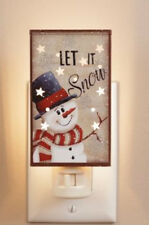 "COUNTRY PRIMITIVE TIN SNOWMAN ""Let it Snow"" NIGHT LIGHT"