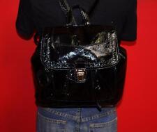 COACH Black Patent Leather POPPY BACKPACK Medium Flap Drawstring Purse Bag 17949