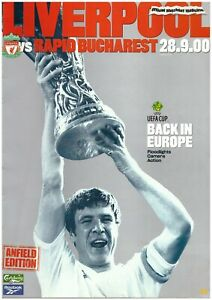 LIVERPOOL F.C V RAPID BUCHAREST 2000/01 UEFA CUP MATCHDAY PROGRAMME 28/09/2000