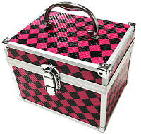 Pink Aluminium Beauty Checker Cosmetic Box Nail Make Up Vanity Salon Tech Case