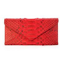 Genuine Python Snake Skin Leather Envelope Clutch Purse Wallet Red