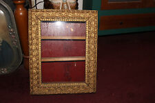 Antique Gilded Gold Leaf Wood Medicine Cabinet Wall Shelf-Glass Front-Superb