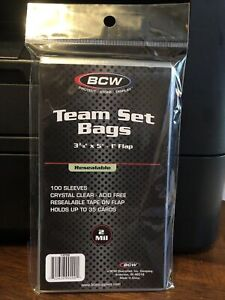 BCW Team Bags Resealable Sleeves 1 Pack of 100 for Team Sets or Toploaders
