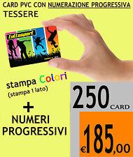250 CARD PVC TESSERE FIDELITY CARD BIGLIETTI COLORI CON NUMERO PROGRESSIVO