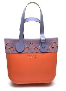 O BAG $165 Orange Star Purple Suede Trim Leather Buckle Strap Classic Tote Purse