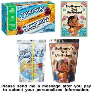 12 Baby Moana Birthday Party Capri Sun Juice Pouch Stickers Baby Shower Labels