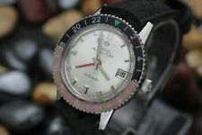 Vintage ZODIAC Aerospace GMT Faded Bakelite Bezel Stainless Steel Men's Watch
