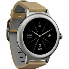 LG LGW270 Smartwatch w/ Android Wear 2.0 (Silver/Tan) LGW270S