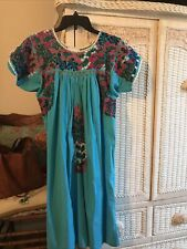 Vintage Oaxacan Mexican Aqua Blue w/Multi Embroidery Dress Pretty Old Size S/M