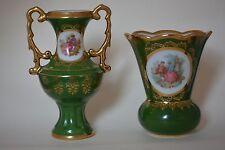 Limoges Green Gold Fragonard Vase x 2
