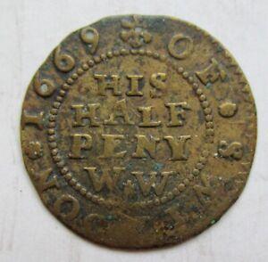 1669 Great Britain, Swindon WILLIAM WEBB Halfpenny Token---Crossed Pipes 17th C.