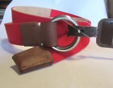 NWT PETER MILLAR  RED CANVAS BELT TAN LEATHER Accents SZ 32 MSRP.$145.