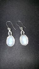 Shivam Made in India .925 Sterling Silver Rainbow Moonstone Oval Earrings  - NEW